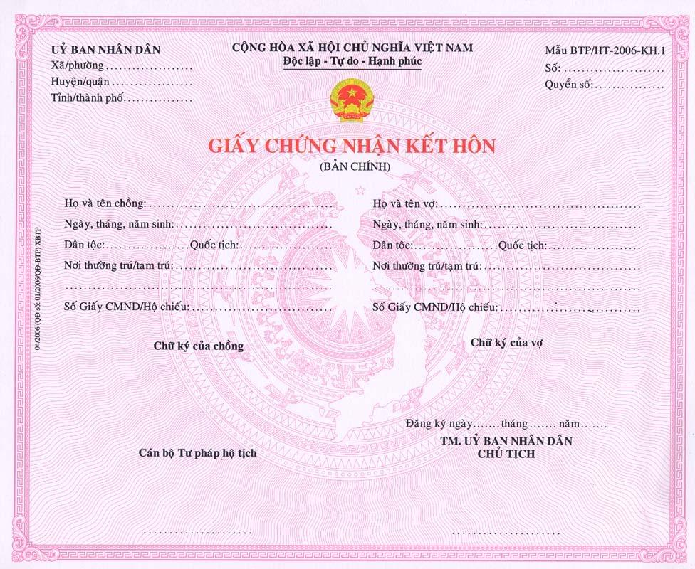 Dịch công chứng giấy chứng nhận kết hôn